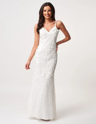 Ivory Lace Embroidered Sleeveless Maxi Dress