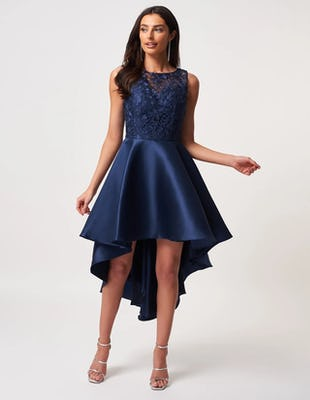 Navy Asymmetric Skater Dress with Lace Bodice