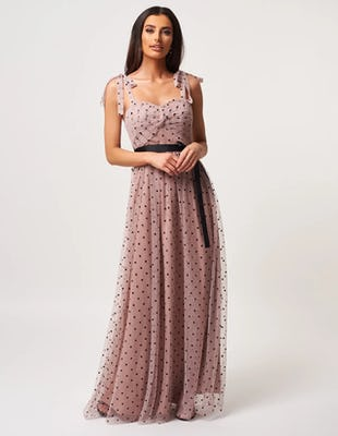 Dusty Pink and Black Polka Dot Mesh Maxi Dress