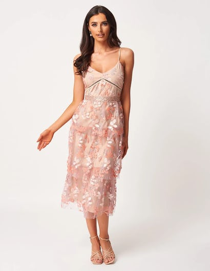 Pink Frill Midi Dress with Sequin Embellishments