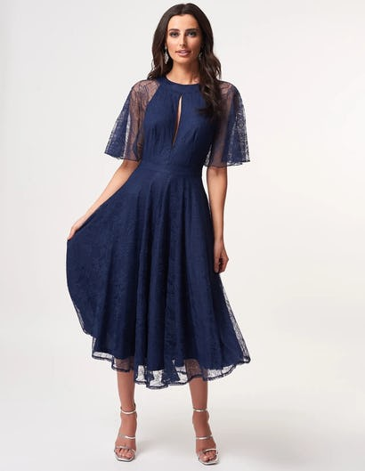 Navy Lace Short Sleeve Midi Dress