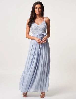 Blue Textured Pleated Maxi Dress