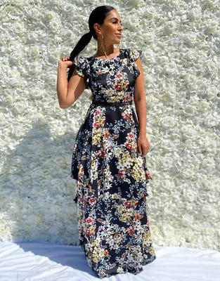 Black Floral Capped Sleeve Maxi Dress
