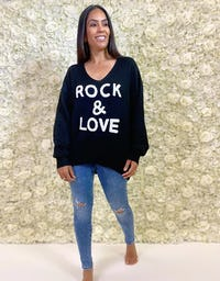 Blue And White 'Rock & Roll' Jumper