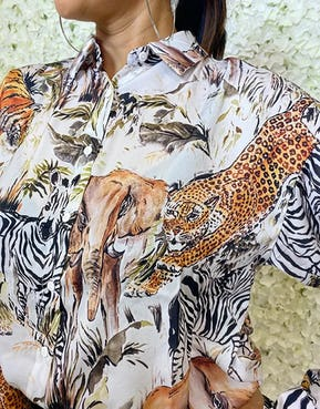 Animal Print Button Up Blouse