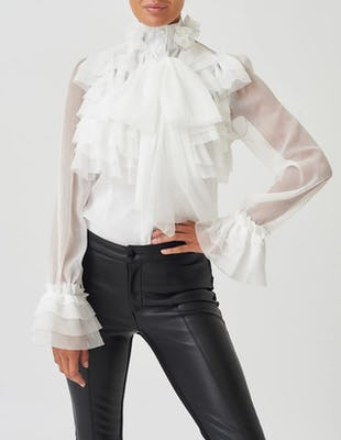White Exaggerated Ruffle Chiffon Pussybow Blouse