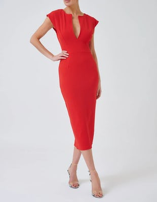 Red Bodycon Midi Dress with Capped Sleeves