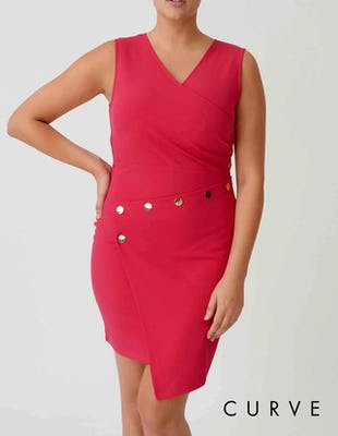 Curve - Fuchsia Bodycon Studded Detail Asymmetric Mini Dress