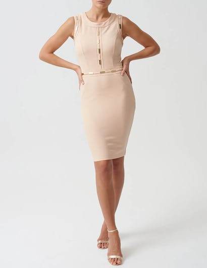 Nude Mini Bodycon Dress with Gold Metal Detailing