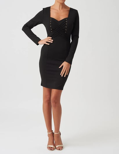 Black Bodycon Long Sleeve Dress with Lace Up Detail