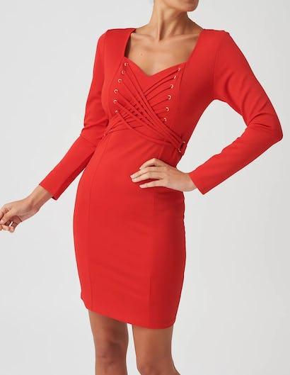 Red Bodycon Long Sleeve Dress with Lace Up Detail