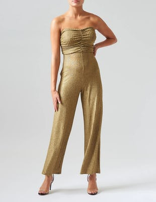 Ribbed Gold Strapless Jumpsuit