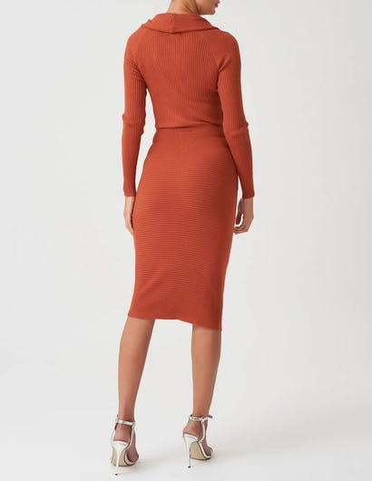 Brown Knitted Long Sleeve Midi Dress