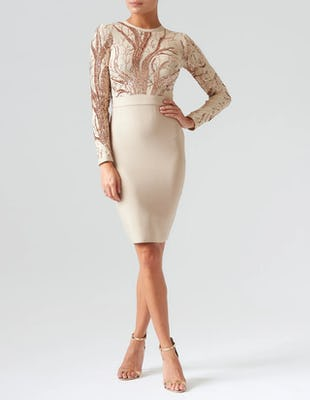 Nude Long Sleeve Bandage Midi Dress with Sequin Detailing