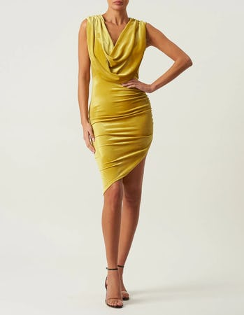 Yellow Velvet Cowl Neck Midi Dress
