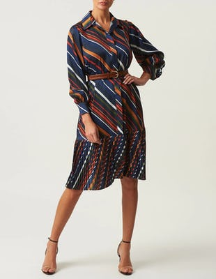 Multi-Colour Long Sleeve Shirt Dress