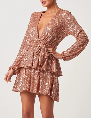Rose Gold Plunging Long Sleeve Sequin Mini Dress