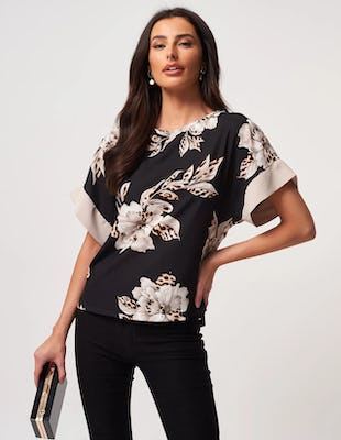 Black Floral and Leopard Print Top with Silver Accents
