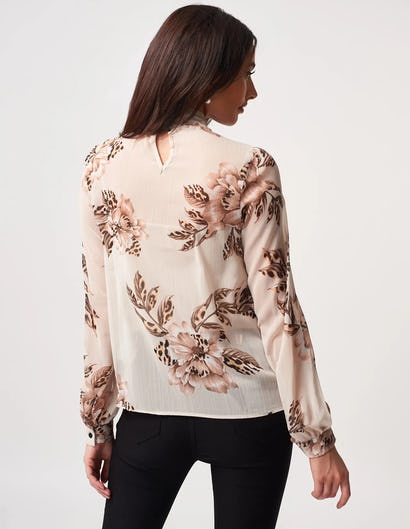 Cream Floral and Leopard Print Blouse with Tie Neck