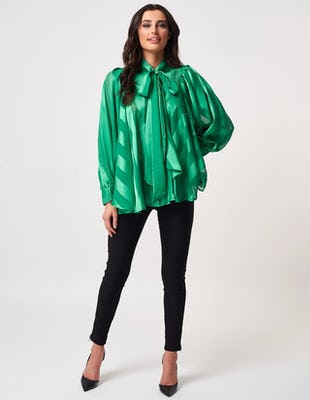 Green Chiffon Striped Pussybow Blouse