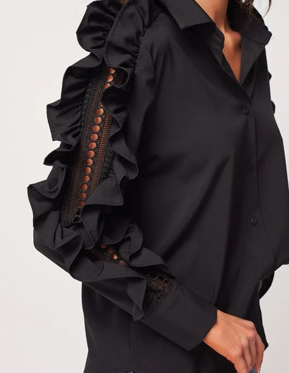 Black Shirt with Ruffle Sleeve Details
