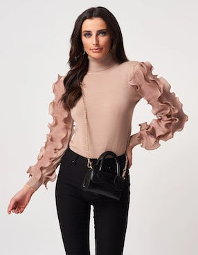 Taupe Roll Neck Floral Sleeve Jumper