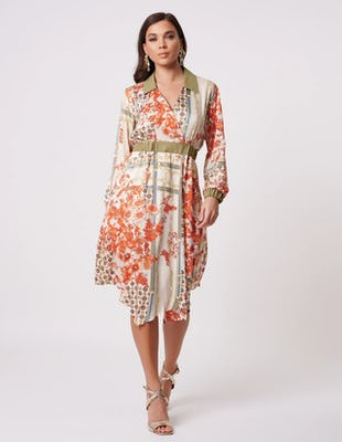 Beige Floral Print Wrap Shirt Dress