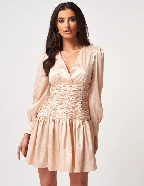 Beige Floral Print Mini Dress with Lace up Bodice Detailing