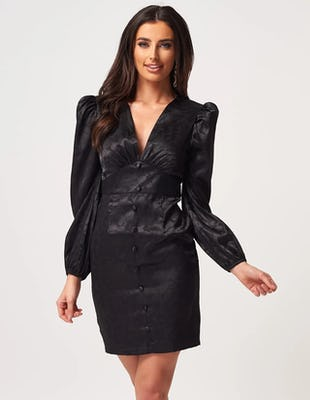 Black Satin Long Sleeve Floral Mini Dress