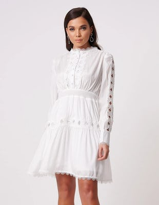 White Floral Embroidered Long Sleeve Mini Dress