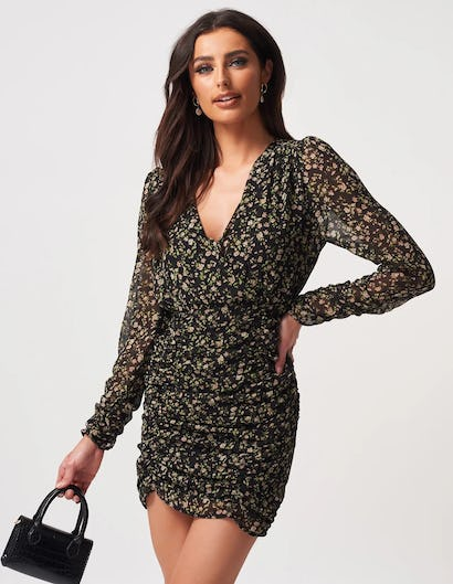 Black Floral Print Ruched Mini Dress with Plunging Neckline