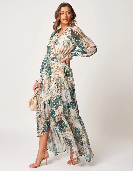 Green Multi Floral Print Long Sleeve Maxi Dress
