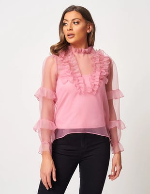 Pink Sheer Organza Blouse