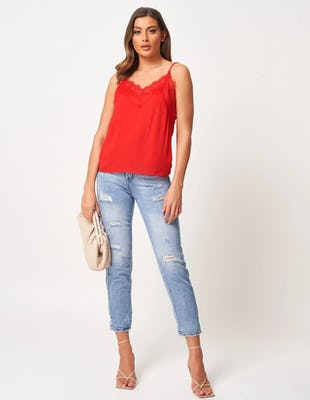 Red Strappy Camisole with Lace Detail