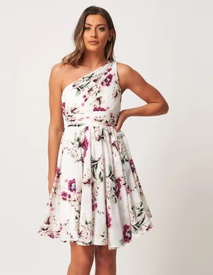 White Floral Asymmetric Dress