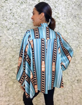 Blue Chain Printed Blouse with Tie Neck