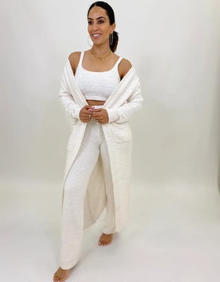 Cream Plush Three-Piece Loungewear Set