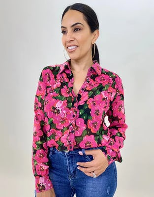 Sheer Poppy Print Blouse