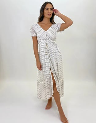 Ivory Tie Back Midaxi Dress with Gold Foil Spots