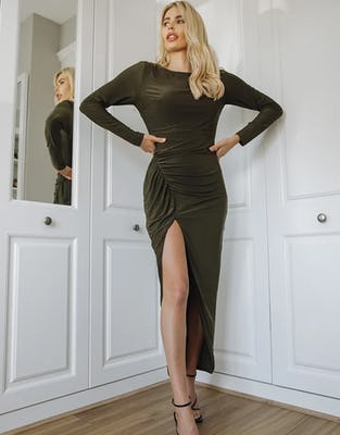 Khaki Long Sleeved Maxi Dress with Ruched Thigh Split