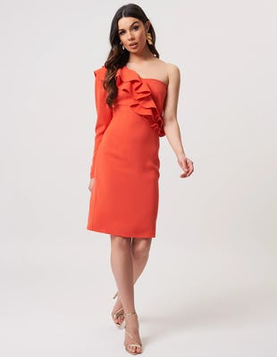 Coral One Shoulder Ruffle Midi Dress
