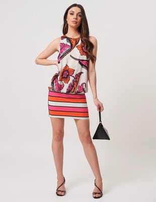 White Orange and Fuchsia Contrasting Floral Print Mini Dress