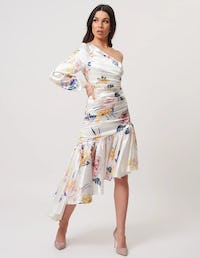 Ivory Ruched Floral Asymmetric Midi Dress