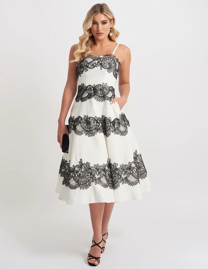Ivory and Black Lace Embroidered Skater Midi Dress
