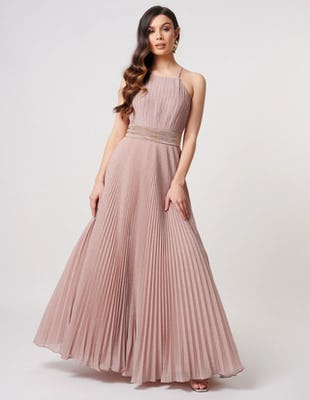 Nude Glitter Pleated Maxi Dress with Embellished Waist