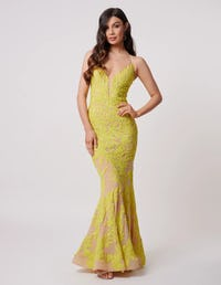 Coral Sequin Fishtail Maxi Dress