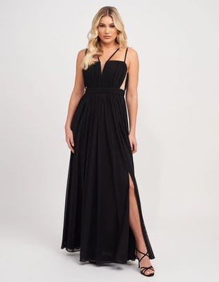 Black Gathered Chiffon Maxi Dress with Mesh Cut-Out Detailing
