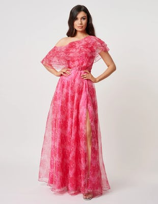 Fuchsia One Shoulder Floral Maxi Dress