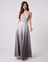 Silver Sparkly Embellished Maxi Dress with Cross Strap Detailing