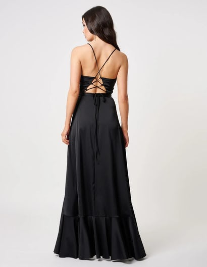 Black Satin Maxi Dress with Ruffle Detailing